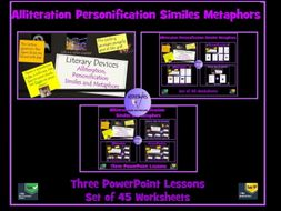 Similes, Metaphors, Personification, Alliteration : 3 PowerPoint Lessons - 48 Worksheets Bundle