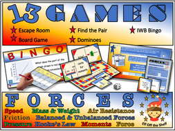 Forces - 13 Games  on Weight, Mass, Friction, Air Resistance, Balanced and Unbalanced Forces, Pressure, Moments, Speed and Hooke's Law