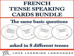 GCSE FRENCH: French Speaking Questions Task Cards - 8 Tense Bundle