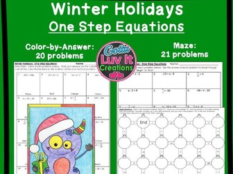Solving Equations One Step Equations With Negatives Winter Bundle - Maze & Color by Number