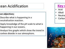BSW/HSW Y7-Y10.  Ocean acidification.  pH, graph interpretation, mini practicals, interview lesson