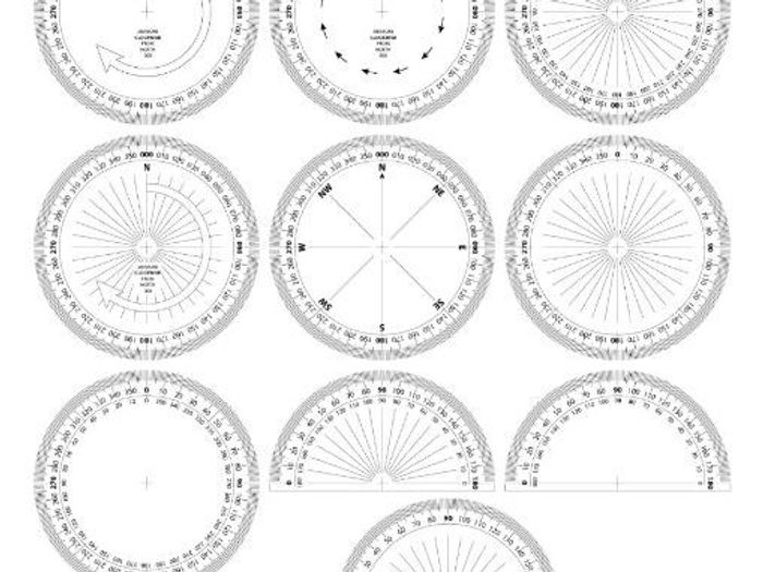 photograph about Printable Protractors known as Unique PRINTABLE PROTRACTORS /Mind-set MEASURERS (round/semi-round) and model for BEARINGS