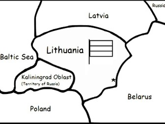 LITHUANIA - Printable handout with map and flag