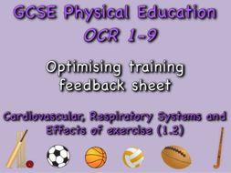 GCSE OCR PE (1.2) Physical Training  - Optimising training feedback sheet