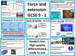Force and extension, Hooke's law, elasticity, spring constant, series and parallel. Complete lesson.