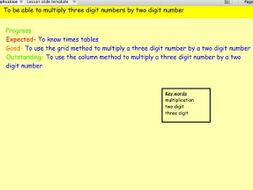 Lesson slides for teaching multiplication using column and grid method