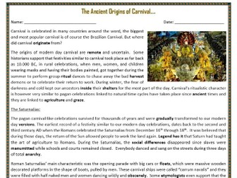 The Ancient Origins of Carnival - Reading Comprehension Text / Worksheets