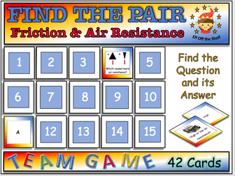 Forces - Friction and Air Resistance Find the Pair Game KS3