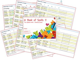Phonics for SEN: Book of Spells 7 - Spelling Practice Books - Two Syllable Words Sound by Sound