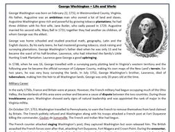 George Washington – Life and Work: Reading Comprehension Worksheet ...
