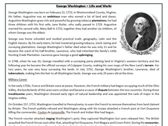 George Washington – Life and Work: Reading Comprehension Worksheet