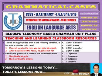 GRAMMATICAL CASES - SUBJECTIVE OBJECTIVE POSSESSIVE: 13 WORKSHEETS WITH ANSWERS