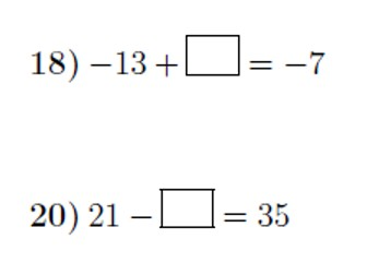 Adding and subtracting positive and negative numbers: missing numbers worksheet no 3 (with answers)