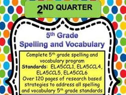 5th Grade Spelling and Vocabulary Complete Program-  Quarter Two- Common Core Aligned