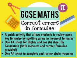 GCSE Maths formulae revision activity (including circle theorems) 2019