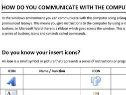 Microsoft Word Icon Worksheet