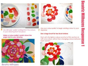 Artist research  - Beatriz Milhazes - Natural Forms - Flowers, Painting, acrylic paint and transfers