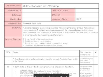 Btec L3 UNIT 2 Production Arts Workshop Assignment briefs with coversheets Royal Opera House
