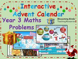 Interactive Advent Calendar - Year 3 Maths Challenges - Christmas