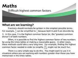 Difficult Highest Common Factors