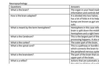 neuropsychology folding revision questions gcse psyc edexcel