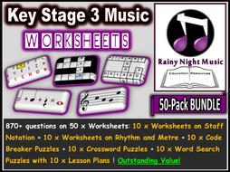 Music Worksheets Pack of 50 Bundle