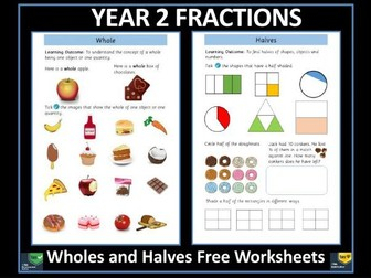 Fractions - Year 2 Fractions - Halves Free Worksheets