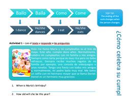 Spanish Birthday Reading Exercise and Vocab List