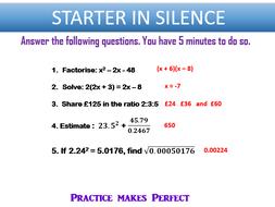 GCSE (9-1) Maths Starter - Higher