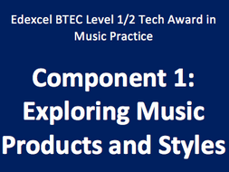 BTEC Tech Award in Music Practice: Component 1