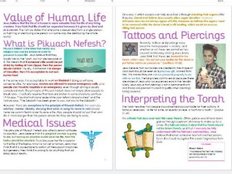 Judaism: Sanctity of Life/Pikuach Nefesh: Differentiated Information and Task Sheets
