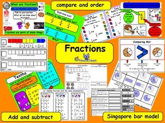 Fractions  KS2 (Including a few Singapore Bar Model worksheets.)