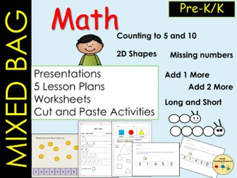 Mixed Math Bag-Counting Ordering  2D Shapes, Missing numbers & Measures (lengths) 5 Lessons Pre-K/K