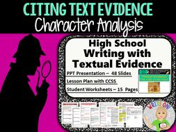 Text Evidence Constructed Response Prompt Character Analysis