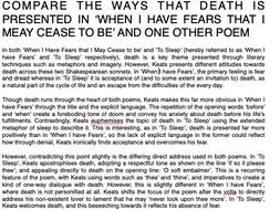 Keats Death When I Have Fears To Sleep