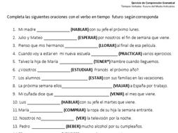 Spanish Future Tense Worksheet With 50 Gap Filling Exercises