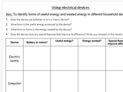 Useful and Wasted Energy in Electrical Devices (worksheet) - GCSE ...