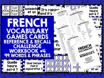 FRENCH VOCABULARY CARDS WITH REFERENCE & RECALL WORKBOOK #4