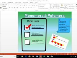 AQA A-Level Biology Monomers and Polymers lesson
