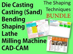 Design and Technology 9-1: Shaping Techniques Bundle: Lathe/Milling Machine/CAD-CAM/ Die Casting, 3D Printing and Sand Casting- 2 Whole Lessons