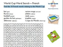 2018 World Cup French Word Search