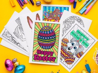 Easter Coloring Cards (set of 10) | Printable PDF Easter card templates to color