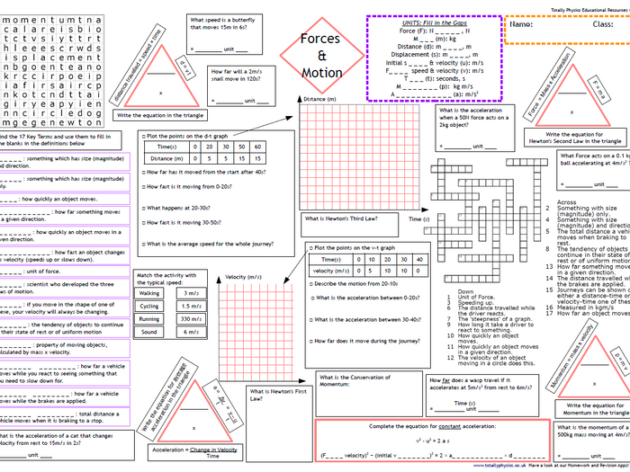 photograph relating to Force and Motion Printable Worksheets known as AQA Forces Action Revision A3 Worksheet (1-9 quality 2018 spec)
