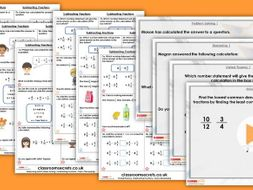 Year 6 Subtracting Fractions Autumn Block 3 Step 8 Maths Lesson Pack