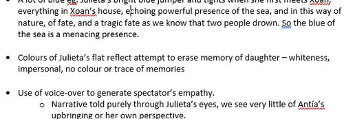 Julieta Almodóvar teacher notes on colours, light and voice over