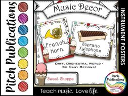 Music Decor - SWEET SHOPPE - Instrument Posters - Orchestra, Orff, and World!