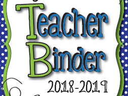 teacher binder 2018 2019 calendars weekly planner forms and