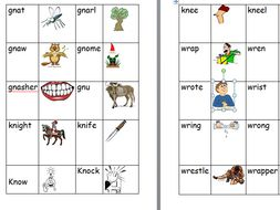 Silent Wr Gn And Kn Worksheet And Matching Activity Teaching Resources