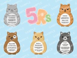 The 5Rs -Independent cats - Building learning power - BLOOMS - Growth Mindset -KS1 - KS2  Display