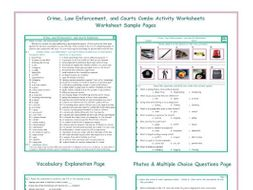 Crime, Law Enforcement, and Courts Combo Activity Worksheets